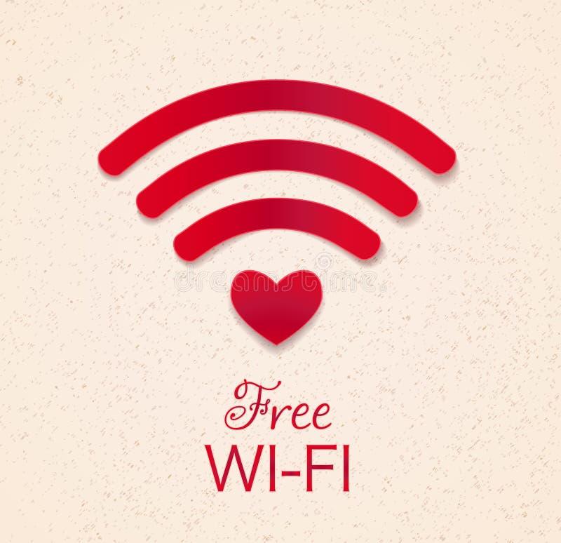 Ícone vermelho de Wi-Fi com forma do coração como o acesso do ponto conne livre do wifi ilustração stock