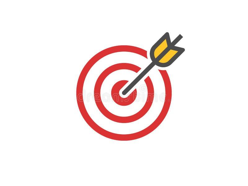 Ícone vermelho do alvo Conceito do alvo e da seta Aperfeiçoe a composição da batida Sinal transversal do alvo Logotipo do sucesso ilustração do vetor