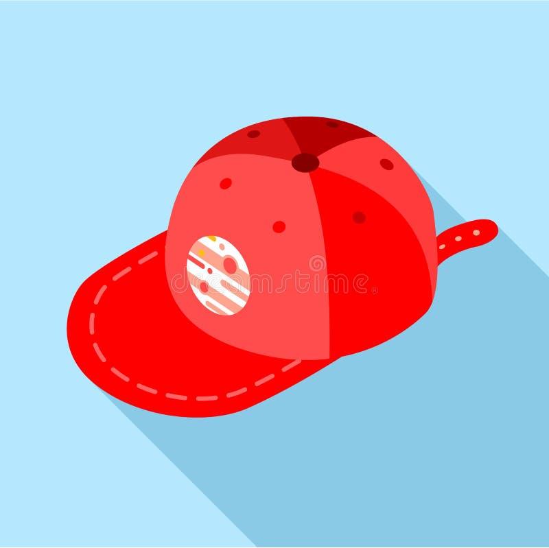 Ícone vermelho do boné de beisebol, estilo liso ilustração stock