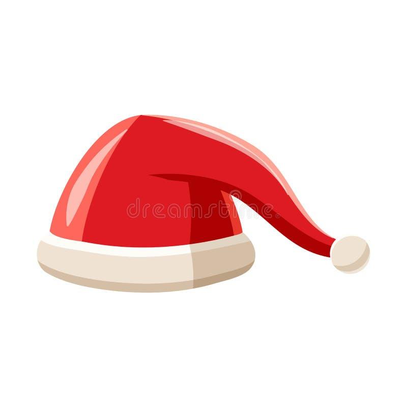 Ícone vermelho do chapéu de Santa Claus do ano novo, estilo dos desenhos animados ilustração royalty free