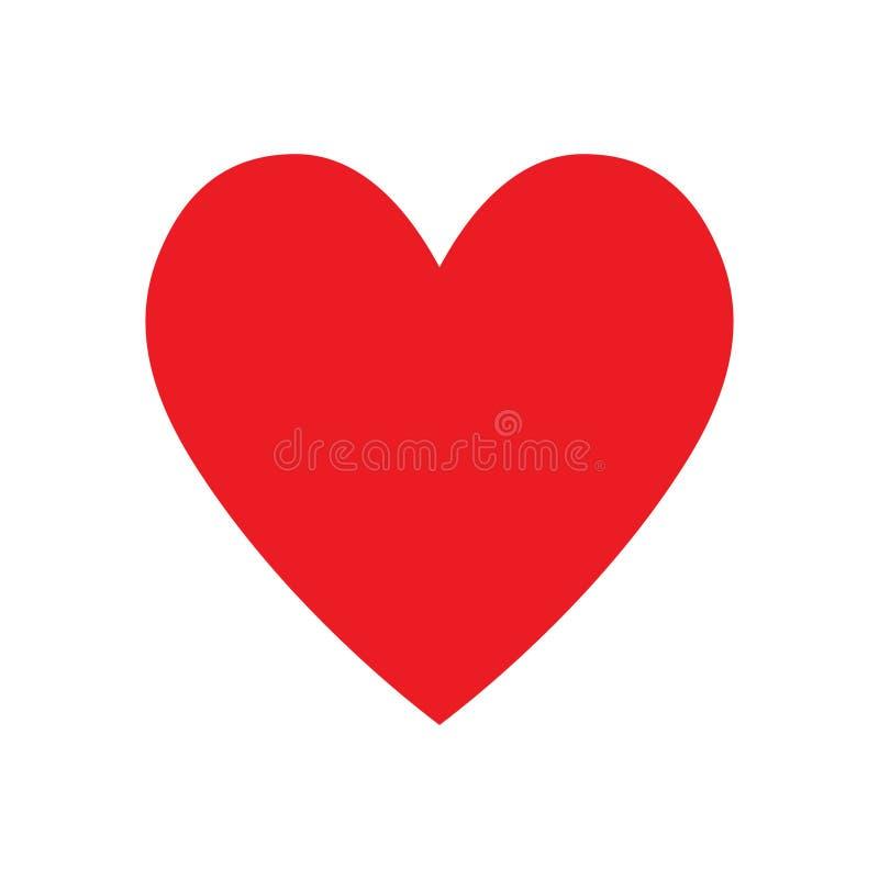 Ícone vermelho do coração, ícone do amor ilustração royalty free