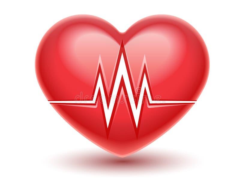 Ícone vermelho do coração com linha do pulso do cardiograma da pulsação do coração Ilustra??o do vetor ilustração stock