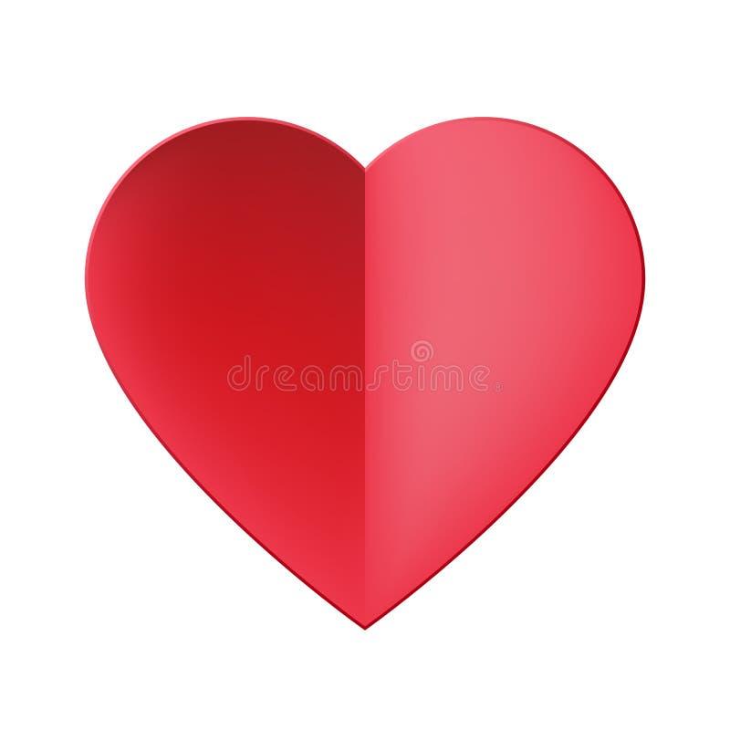 Ícone vermelho do coração do corte de papel realístico na moda Ilustração do vetor Ícone moderno do estilo isolado no fundo branc ilustração royalty free
