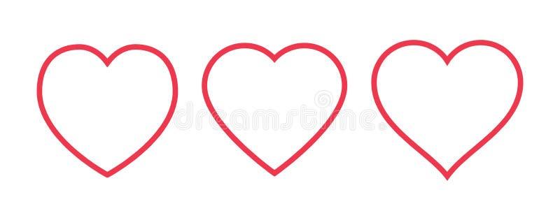 Ícone vermelho do coração isolado no fundo branco Ajuste do símbolo do amor para o logotipo do site, projeto móvel do app UI ilustração do vetor
