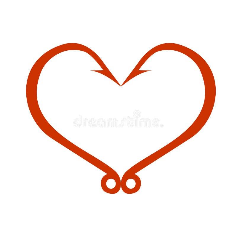 Ícone vermelho do coração no branco Ganchos de peixes na forma do coração O conceito do amor da pesca Ilustração do vetor ilustração stock