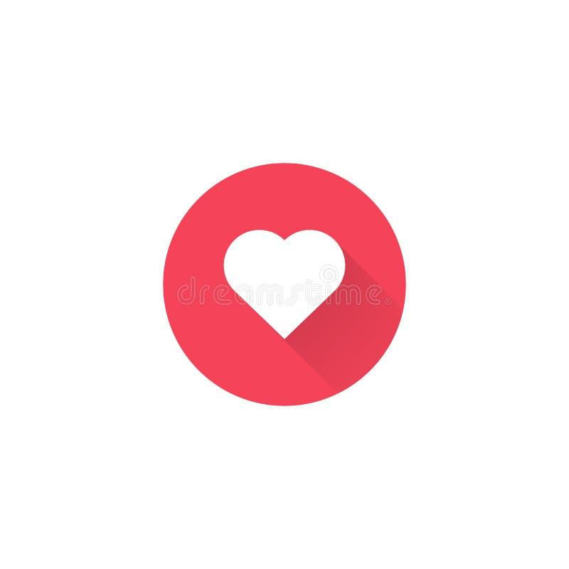 Ícone vermelho do coração do vetor Forma do coração Dia do ` s do Valentim do símbolo do amor Elemento para o cartão de relação d ilustração stock