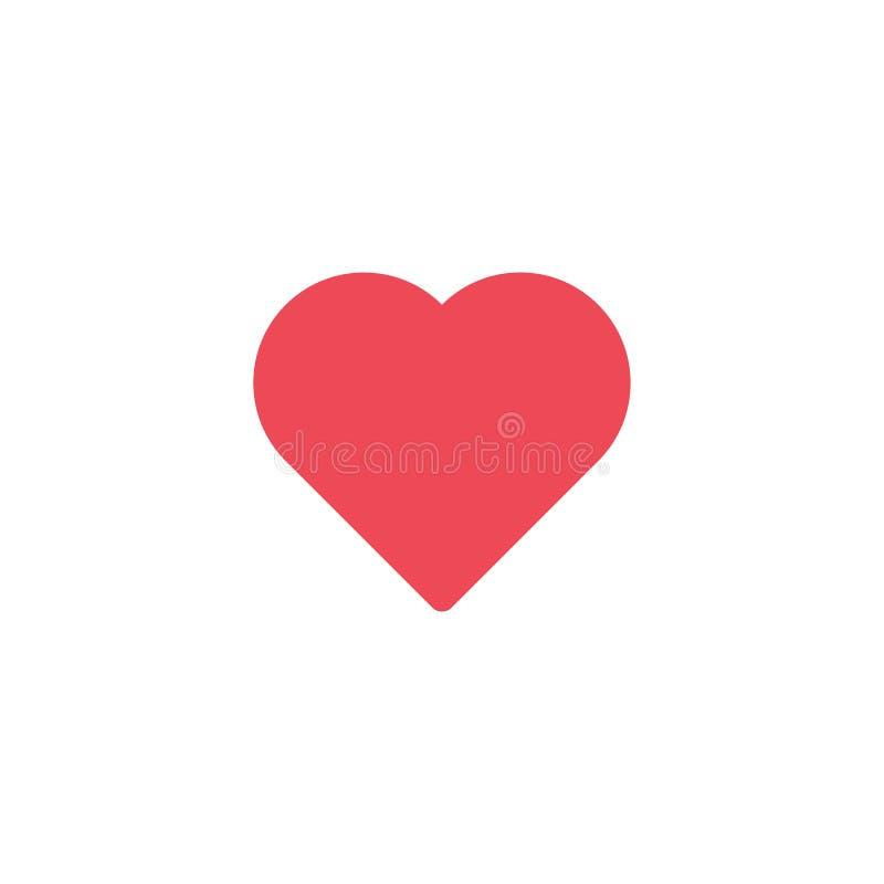 Ícone vermelho do coração do vetor Forma do coração Dia do ` s do Valentim do símbolo do amor Elemento para a relação ou o Web si ilustração do vetor