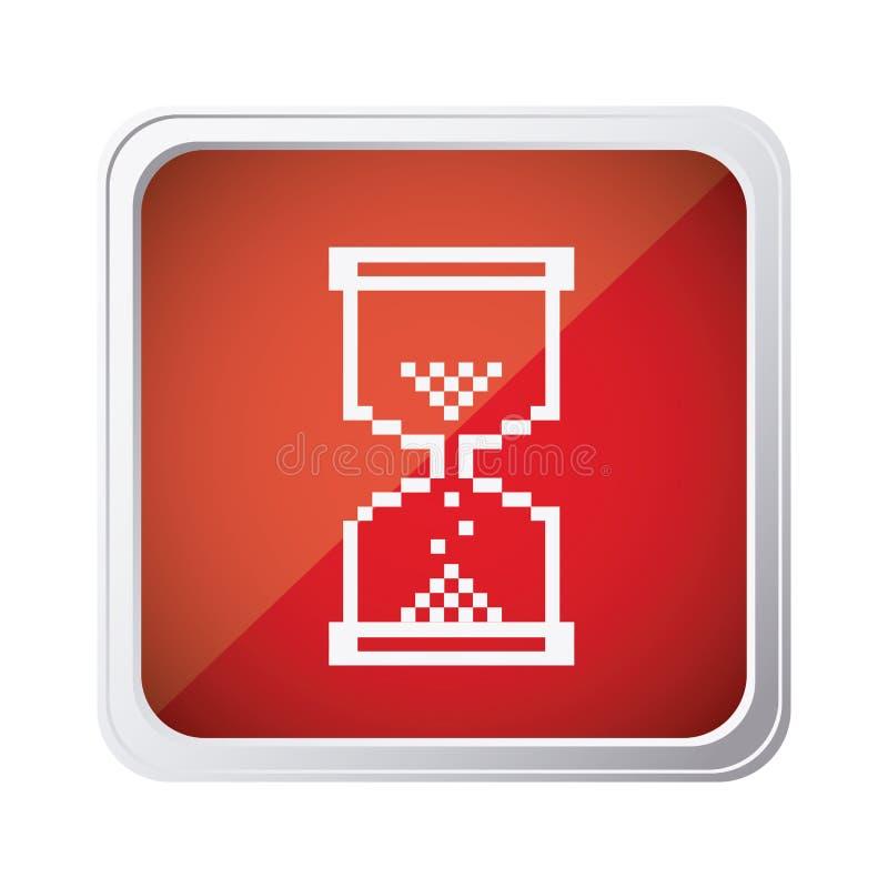 ícone vermelho do cursor da ampulheta do rato do emblema ilustração royalty free