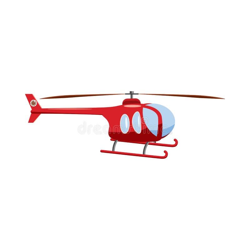 Ícone vermelho do helicóptero, estilo dos desenhos animados ilustração stock