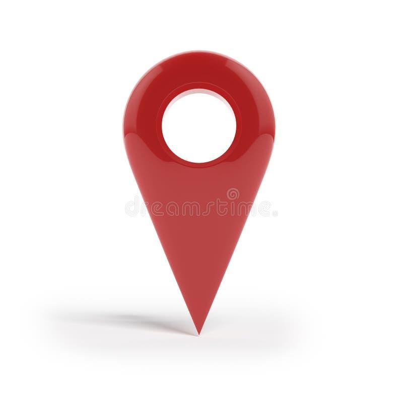 Ícone vermelho do ponteiro do mapa do lustro brilhante. ilustração stock