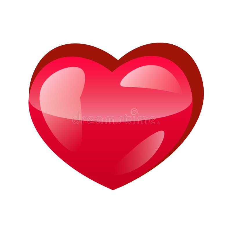 ícone vermelho do projeto do coração liso ilustração stock