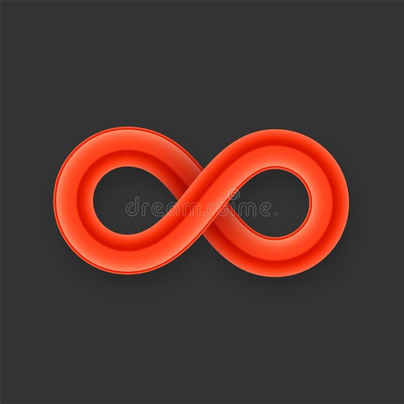 Ícone vermelho do símbolo da infinidade do fio lustroso com ilustração royalty free