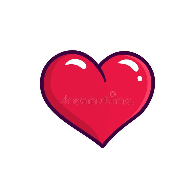 Ícone vermelho do vetor do coração isolado no fundo branco ilustração stock