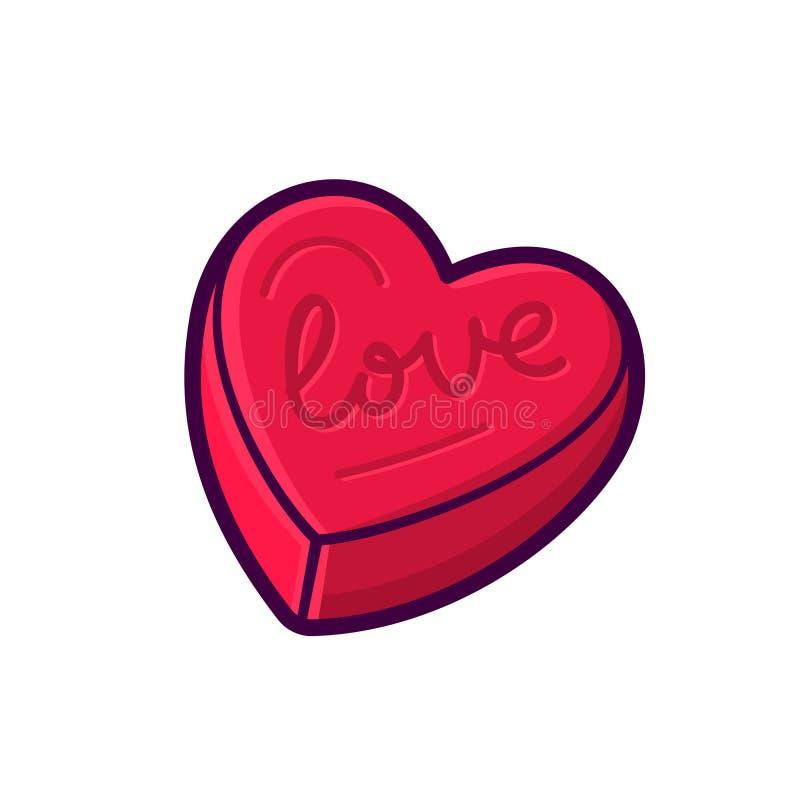 Ícone vermelho do vetor da caixa da forma do coração isolado no branco ilustração stock