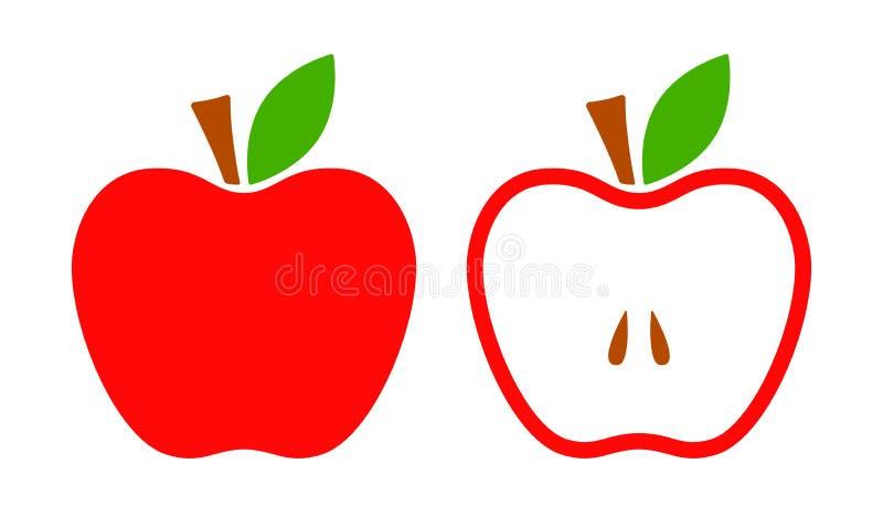 Ícone vermelho do vetor da maçã Todo e meias maçãs Ilustração lisa do vetor ilustração stock