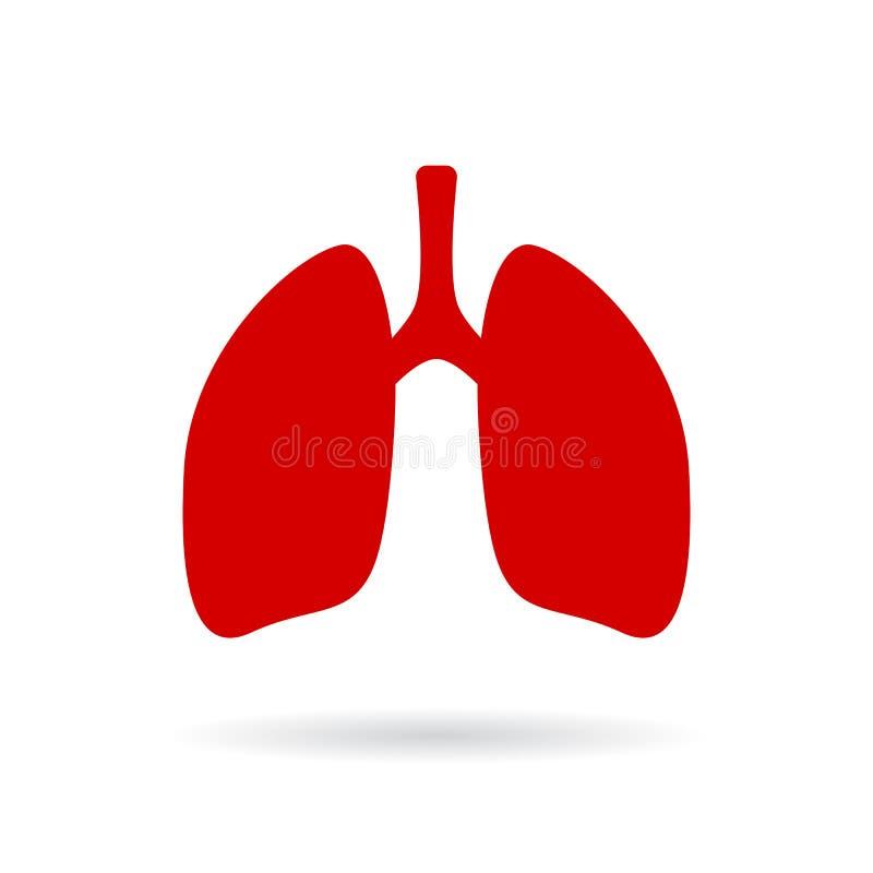 Ícone vermelho do vetor dos pulmões ilustração do vetor