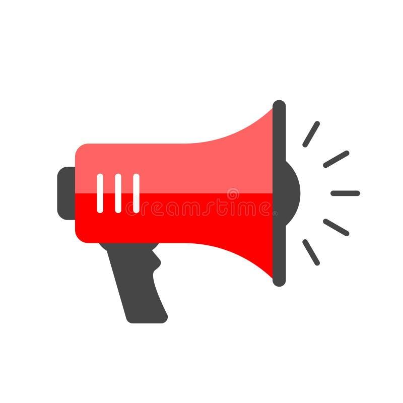 Ícone vermelho do vetor do megafone ilustração do vetor