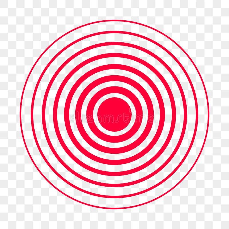Ícone vermelho do vetor do ponto do círculo da dor ilustração stock
