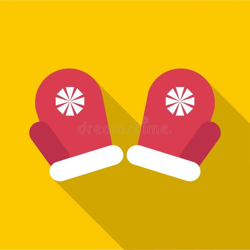 Ícone vermelho dos mitenes do inverno, estilo liso ilustração stock