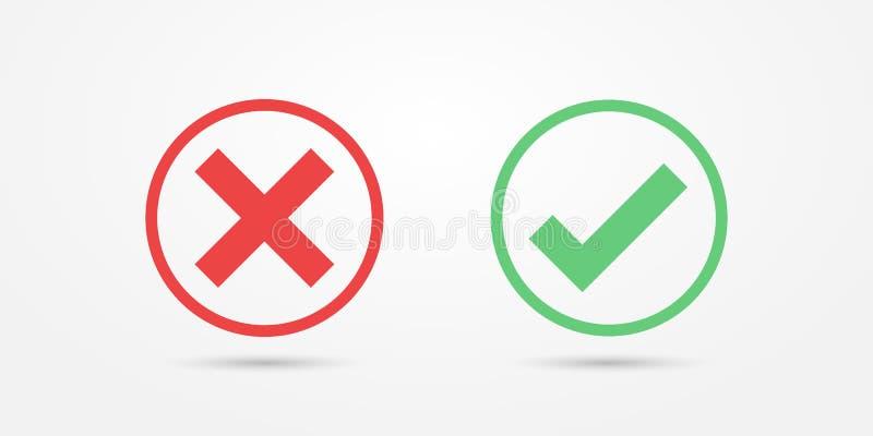Ícone vermelho e verde da marca de verificação do ícone do círculo isolado no fundo transparente Aprove e cancele o símbolo para  ilustração stock