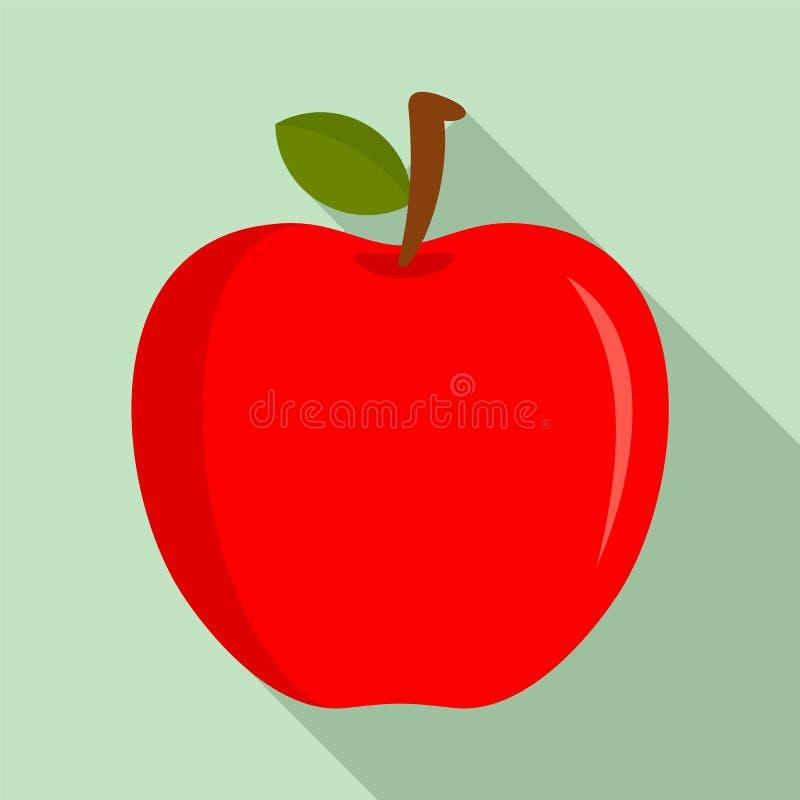 Ícone vermelho fresco da maçã de Eco, estilo liso ilustração stock