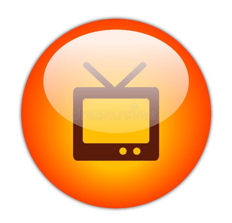 Ícone vermelho Glassy da televisão ilustração stock