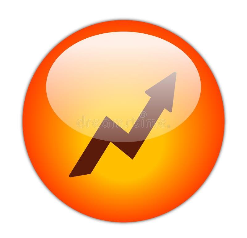 Ícone vermelho Glassy do lucro ilustração stock