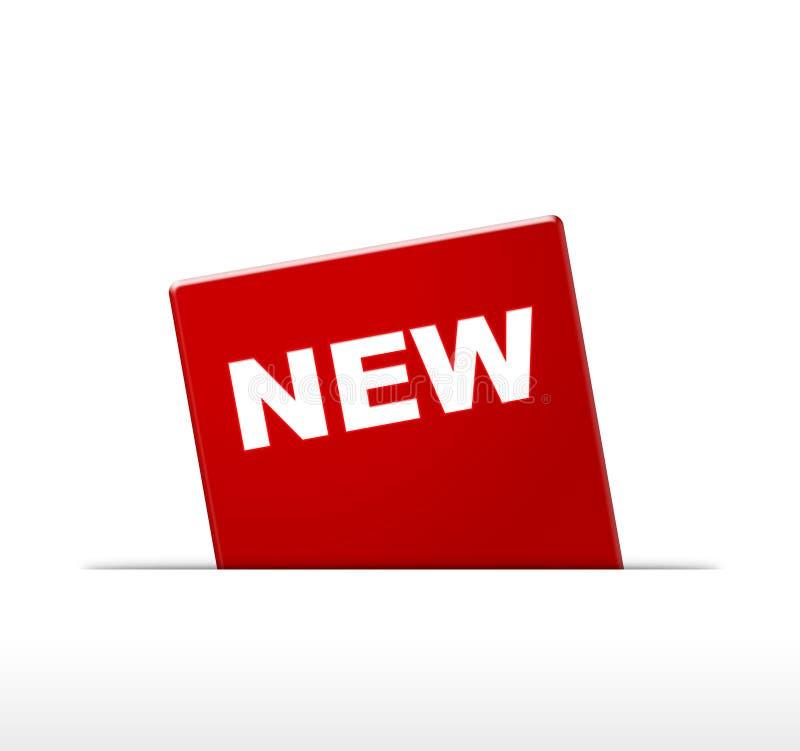 Ícone vermelho novo A propaganda assina no vermelho Conceito da venda e produtos novos ilustração do vetor
