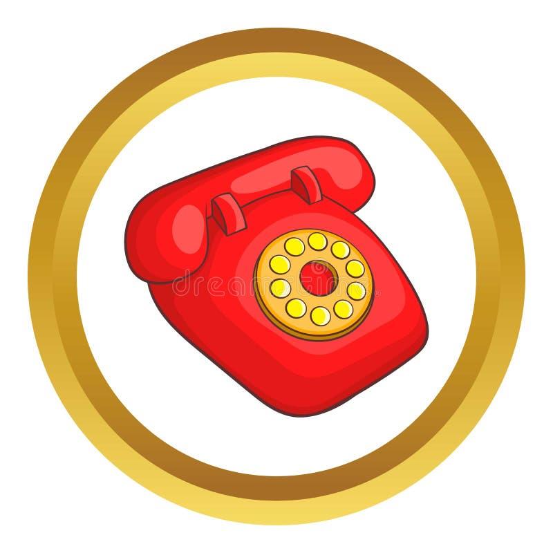 Ícone vermelho retro do telefone ilustração do vetor