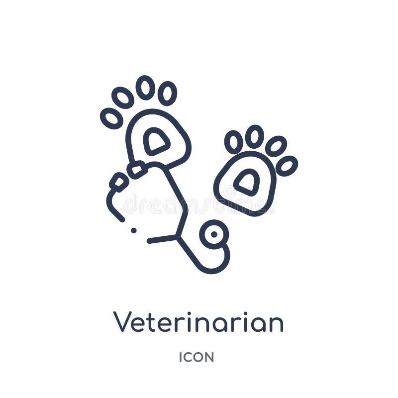Ícone veterinário linear da coleção médica do esboço Linha fina ícone veterinário isolado no fundo branco veterinarian ilustração royalty free