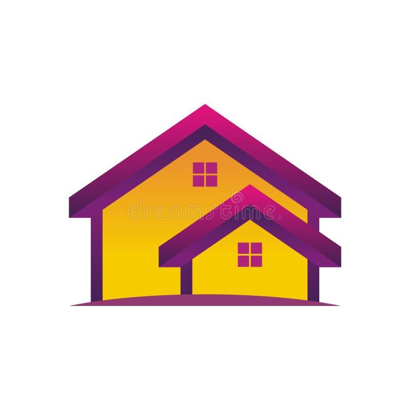 Ícone vetor de casa Ilustração do edifício doméstico com design plano colorido ilustração stock