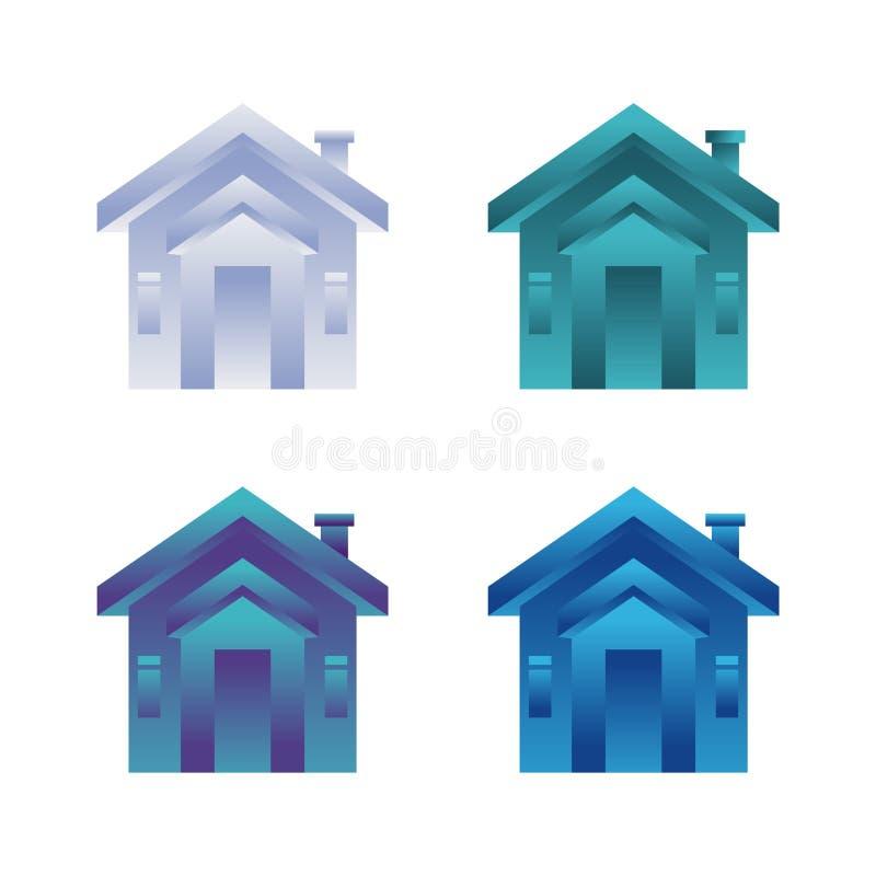 Ícone vetor de casa Ilustração do edifício doméstico com design plano colorido ilustração do vetor