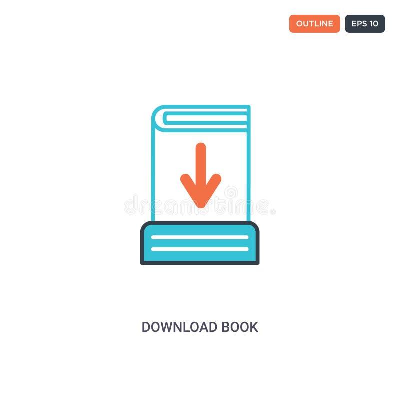 ícone vetor de linha de conceito do livro de download de cores o ícone de destaque isolado de dois livros coloridos de download c ilustração royalty free