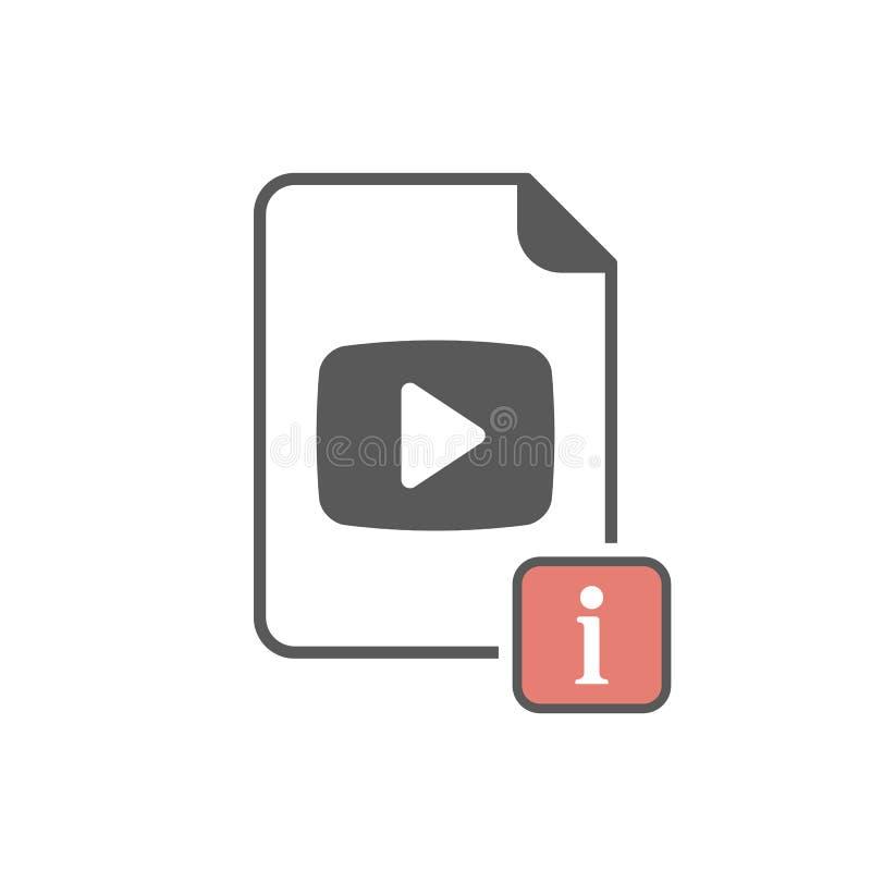 Ícone video com sinal da informação Ícone video e aproximadamente, FAQ, ajuda, símbolo da sugestão ilustração do vetor