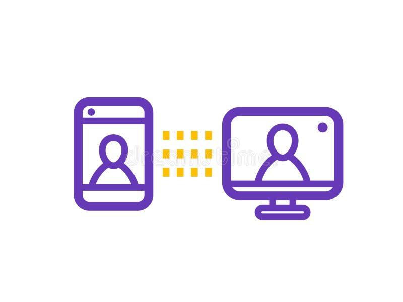Ícone video da chamada, videoconferência pelo computador ilustração royalty free