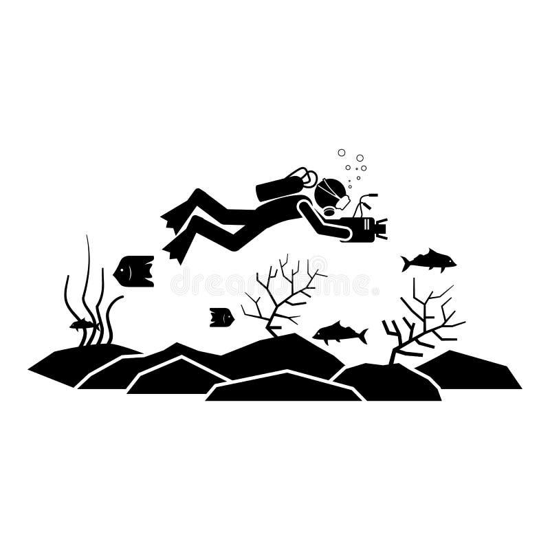 Ícone video da tração do mergulhador Elemento do ícone do mergulho para apps móveis do conceito e da Web O ícone video da tração  ilustração royalty free