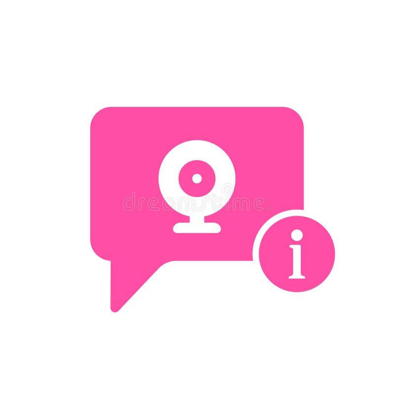 Ícone video do bate-papo com sinal da informação Ícone video do bate-papo e aproximadamente, FAQ, ajuda, símbolo da sugestão ilustração royalty free
