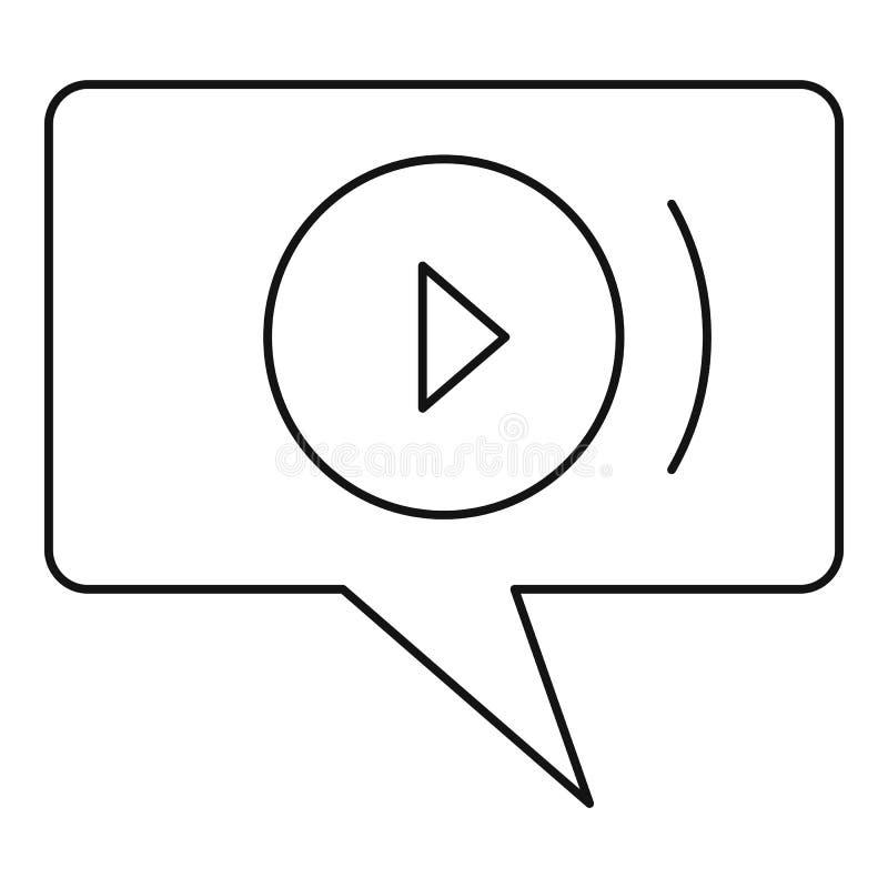 Ícone video do bate-papo, estilo do esboço ilustração royalty free