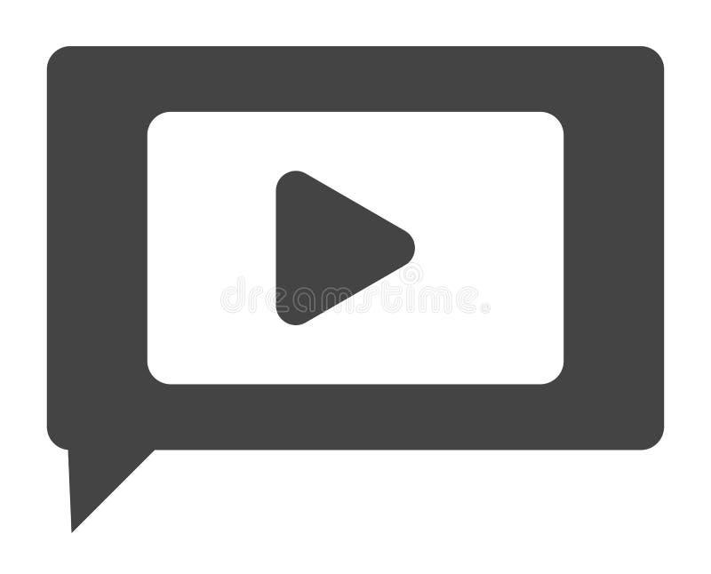 Ícone video do bate-papo no fundo branco Estilo liso bate-papo video para ilustração stock