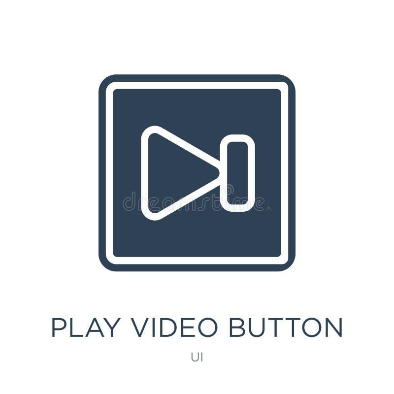 ícone video do botão do jogo no estilo na moda do projeto ícone video do botão do jogo isolado no fundo branco Ícone video do vet ilustração do vetor