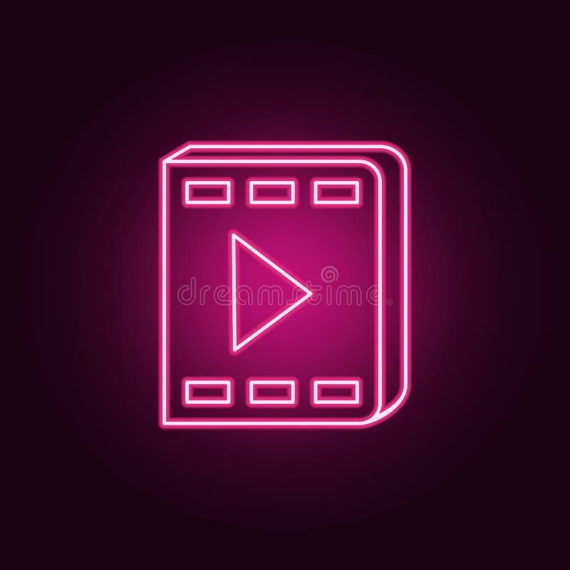Ícone video do livro Elementos dos livros e dos compartimentos nos ícones de néon do estilo Ícone simples para Web site, design w ilustração stock