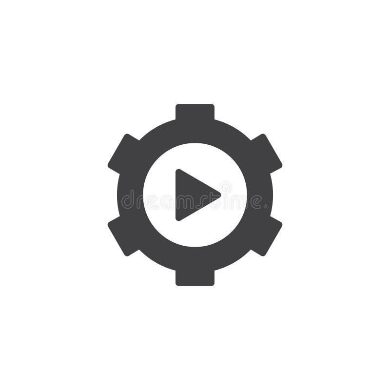 Ícone video do vetor da engrenagem ilustração stock