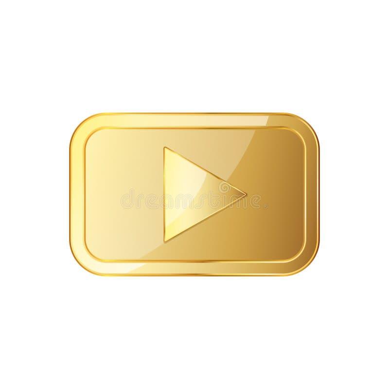 Ícone video dourado do jogo Ilustração do vetor ilustração royalty free