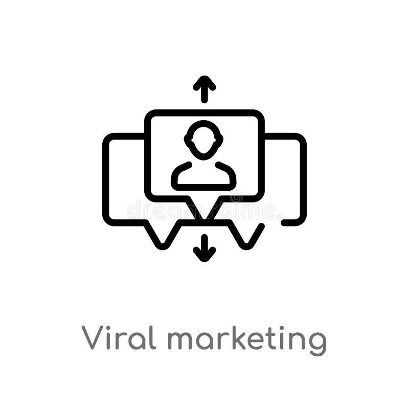 ícone viral do vetor do mercado do esboço linha simples preta isolada ilustração do elemento do conceito da otimização do Search  ilustração do vetor