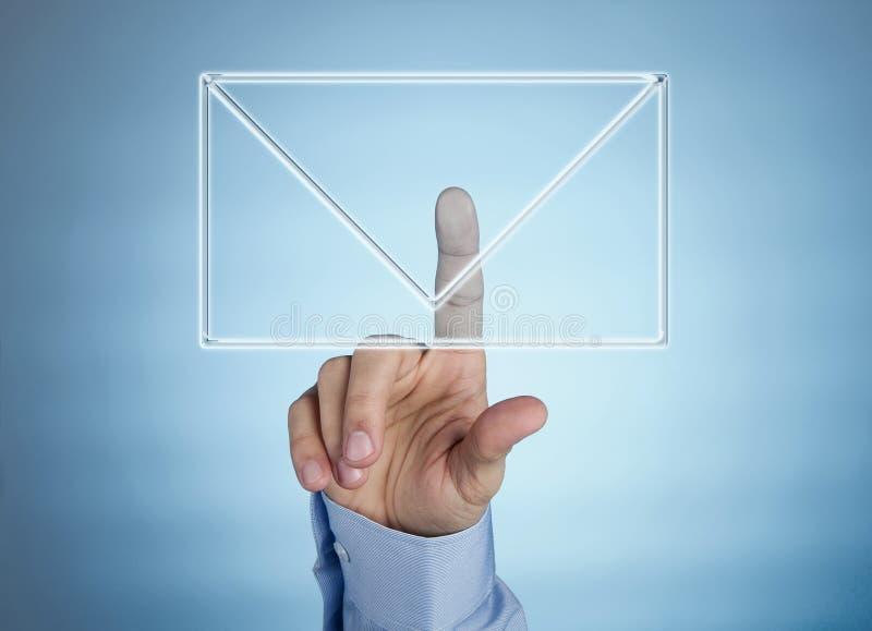 Ícone virtual humano do correio da pressão de mão foto de stock