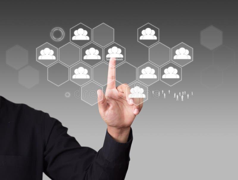 Ícone virtual tocante do homem da rede social imagens de stock royalty free