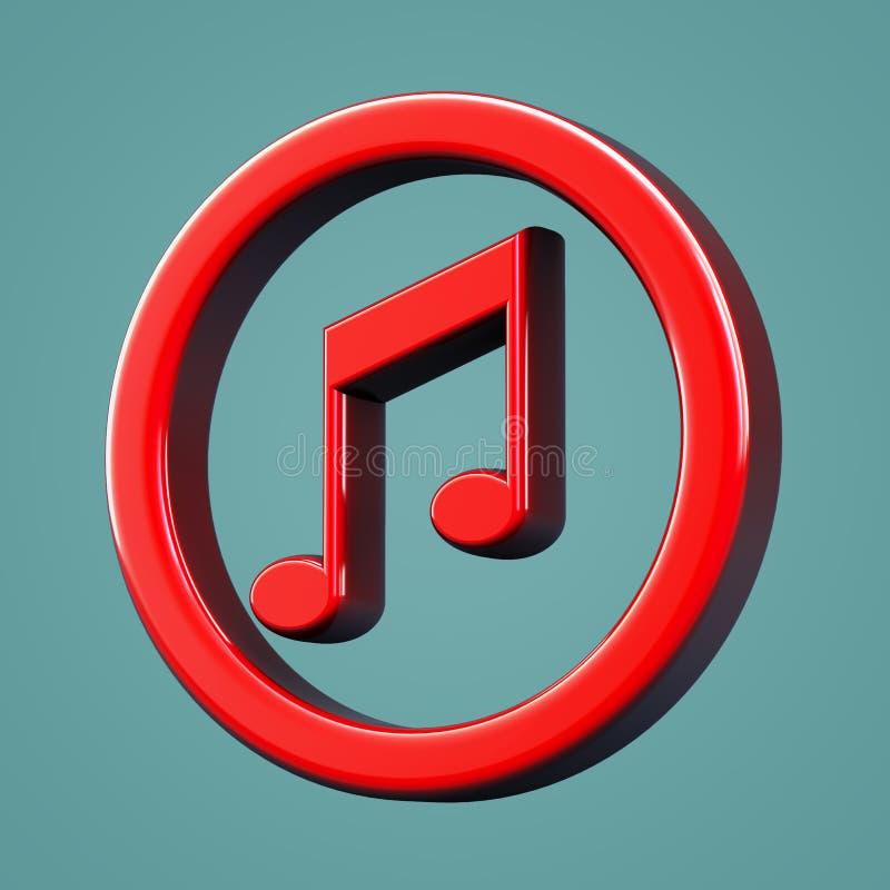 Ícone volumétrico da música Símbolo da nota musical ilustração do vetor