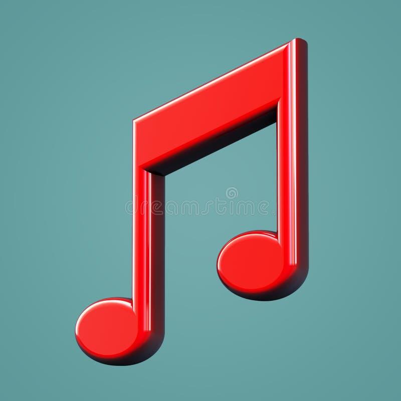 Ícone volumétrico da música Símbolo da nota musical ilustração stock