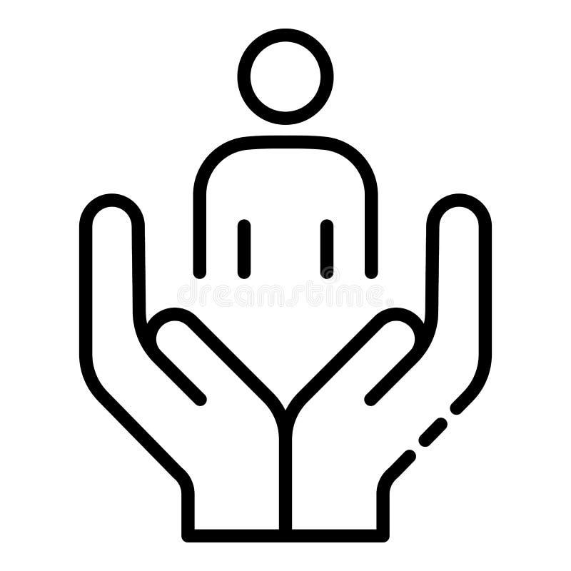 Ícone voluntário do cuidado do homem, estilo do esboço ilustração royalty free