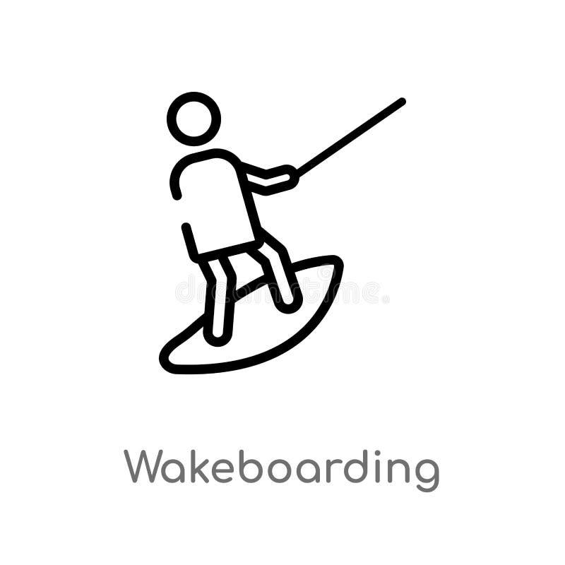 ícone wakeboarding do vetor do esboço linha simples preta isolada ilustração do elemento do conceito do tempo livre Curso editáve ilustração royalty free